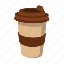 cardboard, cartoon, coffee, cup, mocha, paper, takeaway icon