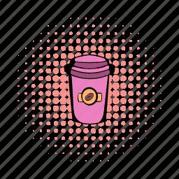 cardboard, coffee, comics, cup, mocha, paper, takeaway icon