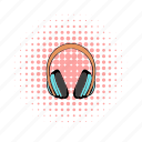 audio, comics, headphones, music, pair, sound, stereo icon