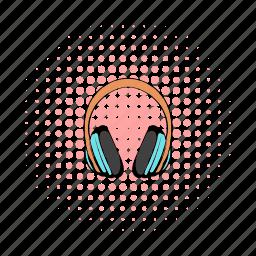 audio, comics, headphones, music, pair, sound, stereo icon