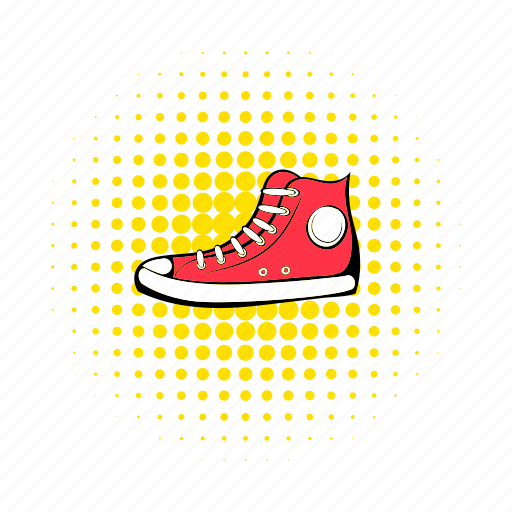 comics, foot, footwear, hipster, red, sneaker, sport icon