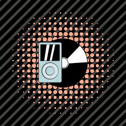 comics, hipster, media, mp3, player, record, vinyl icon