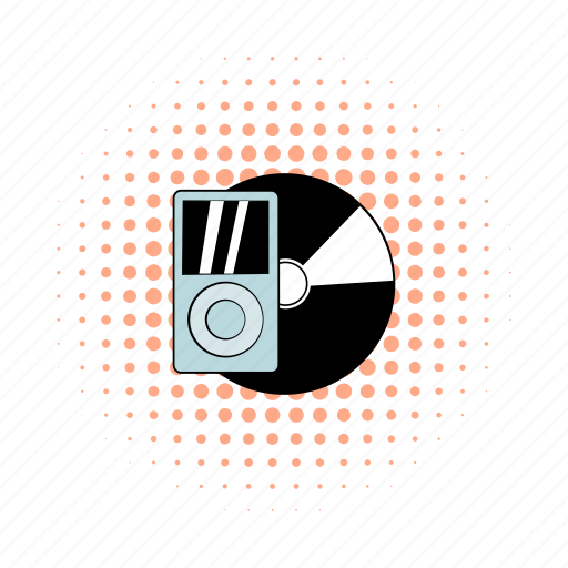 comics, hipster, media, mp3, player, record, vinyl icon