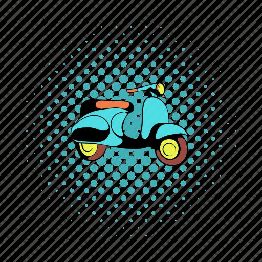 bike, comics, hipster, motorbike, motorcycle, rider, transportation icon
