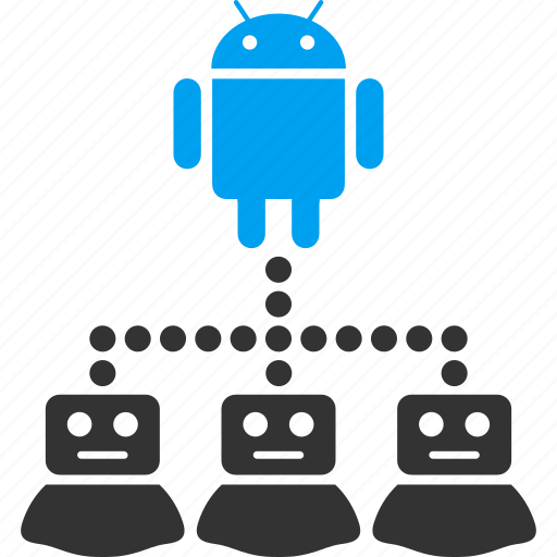 android, company, connection, hierarchy, links, manager, robots icon