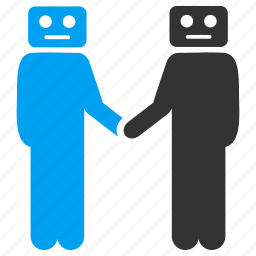 agreement, business contacts, communication, contract, handshake, robots, support icon