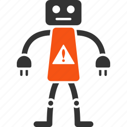 alert, android, attention, danger, hazard, problem, robot icon