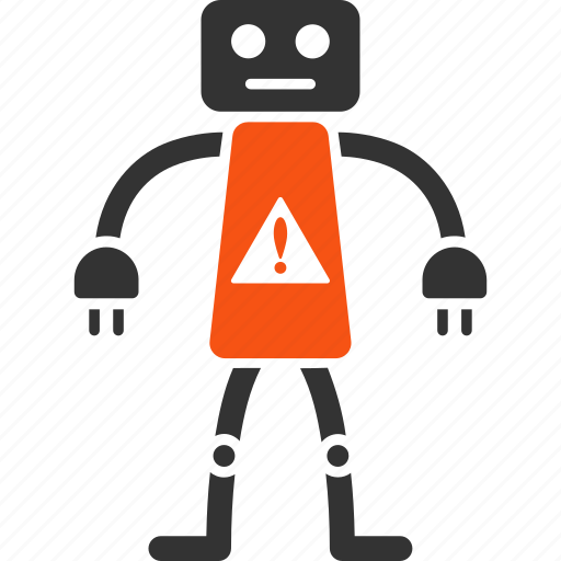 alert, android, attention, danger, hazard, problem, robot icon