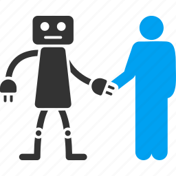 communication, contact, cooperation, handshake, human, meeting, robot icon