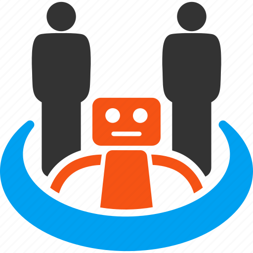 collaboration, community, cooperation, group, robot, social network, team icon