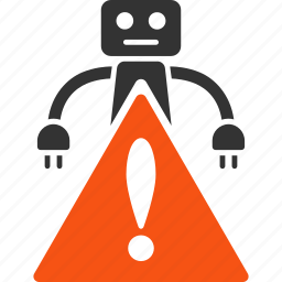 alert, android, error, hazard, problem, robot, warning icon