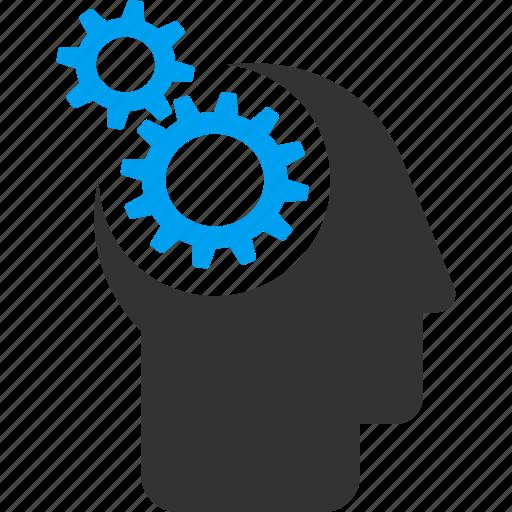 brain interface, cyborg, gears, head, idea, mind, think icon