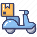 courier, delivery, scooter, box