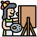 painting, drawing, palette, easel, artist icon