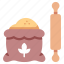 baker, bakery, food, homemade, pin, rolling, wheat icon