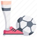 activity, ball, football, leg, play, soccer, sport icon