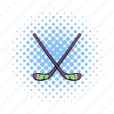 comics, equipment, hockey, ice, sport, stick, team icon
