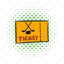 comics, game, hockey, play, sport, team, ticket icon