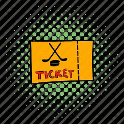 comics, game, hockey, play, sport, team, ticket icon