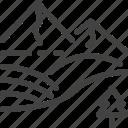 hokkaido, japan, landscape, mountain, tree icon