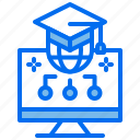 computer, education, global, graduate, learning icon
