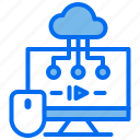 cloud, computer, course, internet, learning, mouse icon