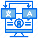 computer, course, language, learning, translate icon