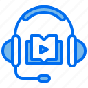 book, course, headphones, learning, listen icon