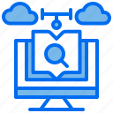 book, computer, course, learning, online, search icon