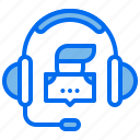 course, headphone, learning, message, person icon