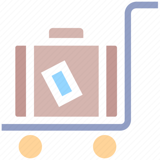 airport, bag, cart, luggage, luggage cart, travel bag, trolley icon