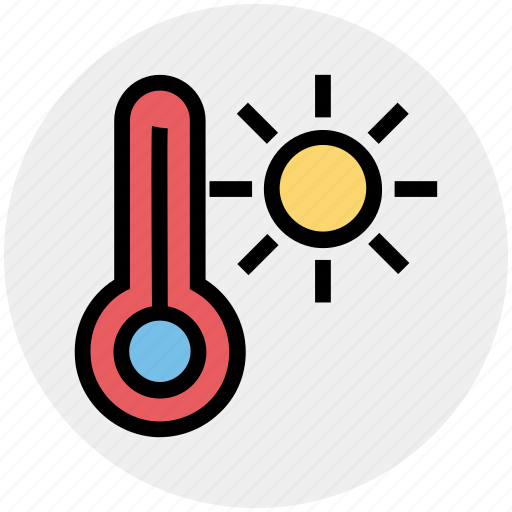 heat, holiday, summer, sun, temperature, thermometer, warm icon