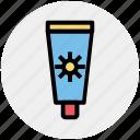 block, cream, holiday, lotion, sun, sunblock, travel icon