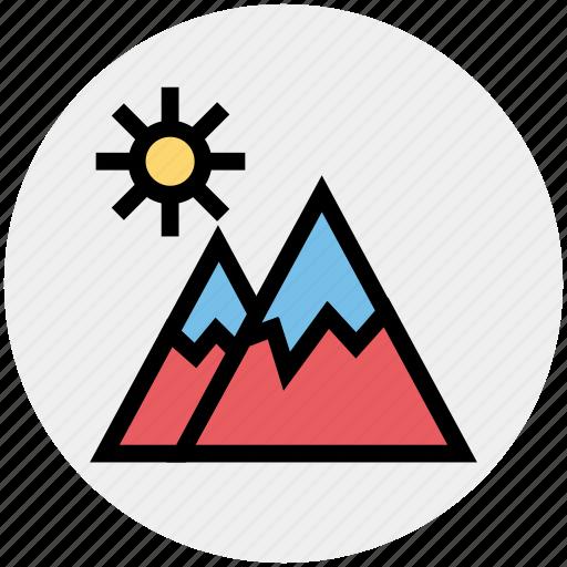 environment, holiday, landscape, mountain, mountains, sun, travel icon