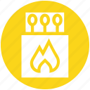 box, equipment, fire, holiday, match, stick icon