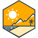 holiday, leisure, mountain, summer, sun icon