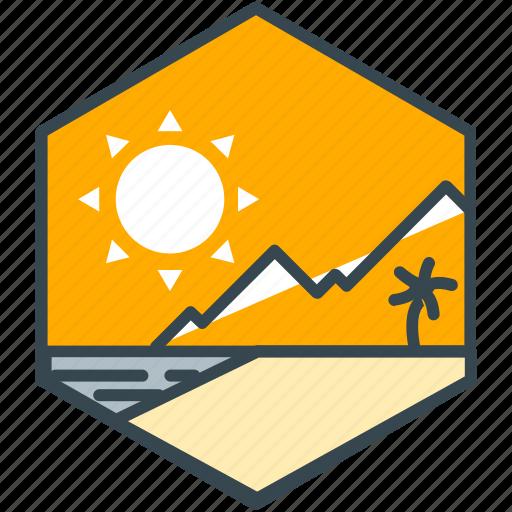 holiday, leisure, mountain, summer, sun icon