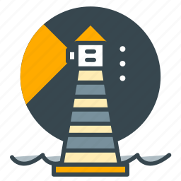 building, guide, holiday, house, lamp, light, sea icon