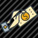 bill, cash, dollar, finance, hand, money, payment icon