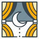 curtains, holiday, hotel, moon, night, rest, sleep icon