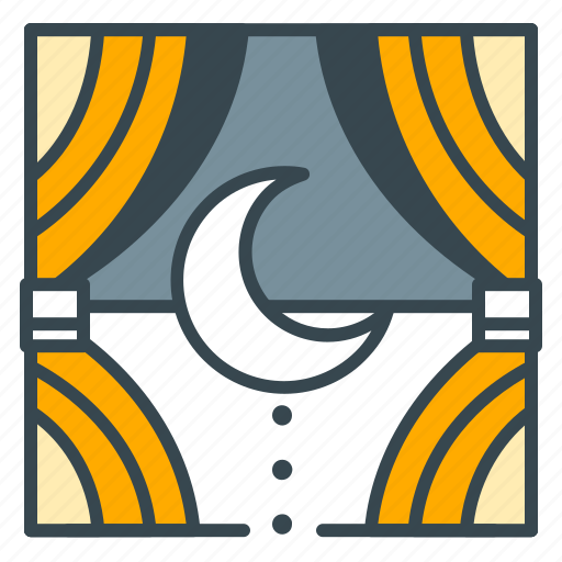 curtains, holiday, hotel, moon, night, rest, sleep icon
