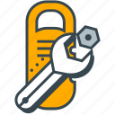 holiday, hotel, room, service, support, wrench icon