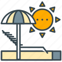 beach, sun, sunbath, sunbathe, sunbathing, umbrella icon