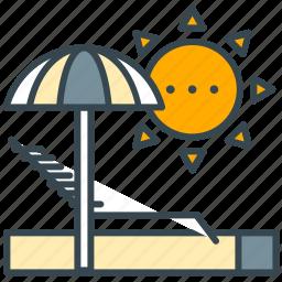 beach, sun, sunbath, sunbathe, sunbathing, umbrella icon