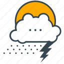 cloud, forecast, holiday, lightening, rain, snow, weather icon