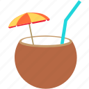 beach, coco nut, drink, holiday, travel icon