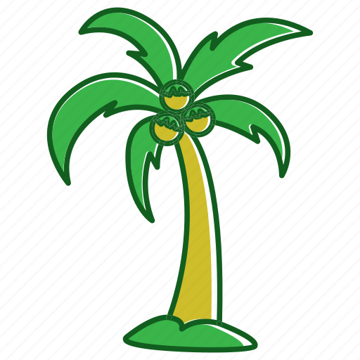 coconut, coconut element, flat coconut, holiday, summer icon