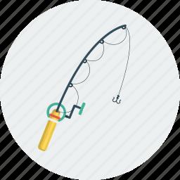 fishing, fishing rod, rod icon