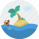 fish, island, landscape, ocean, palm tree, sand, sea icon