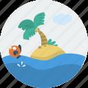 fish, island, landscape, ocean, palm tree, sand, sea icon